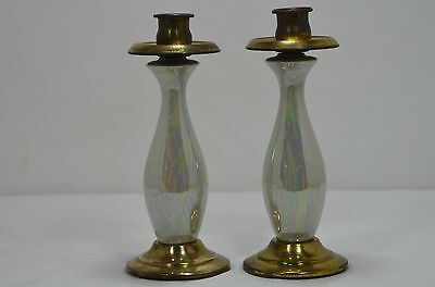 "Vintage Set of  Iridescent Pearl luster brass candlestick holders 8"" 1/2 tall"