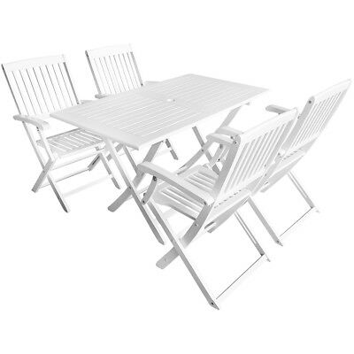 4 Seater Acacia Wood Outdoor Setting Patio 5 Piece Table Chair Set Dining White