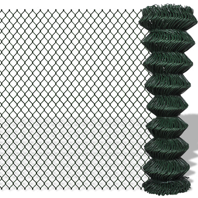 Green Galvanised Steel Mesh Wire Chain-link Fence PVC Coating 1.5x15m 60x60mm