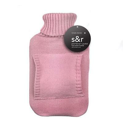 Hot Water Bottle + Cover Warmer Pocket Heat Soft Bag Large Grey knitted Pink