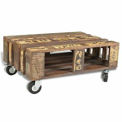 Antique-style Solid Reclaimed Wood Timber Coffee Table w/ 4 Wheels Storage