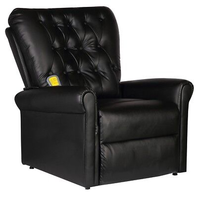 Massage Chair Faux Leather Recliner Electric Remote Control Stretching Black