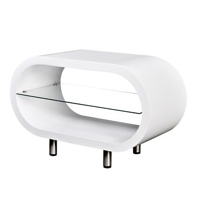 High Gloss White Coffee Table Oval MDF Glass Shelf Display Storage TV Stand