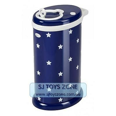 Ubbi Powder Coated Steel Baby Diaper Pail with Child Proof Lock - Navy Stars