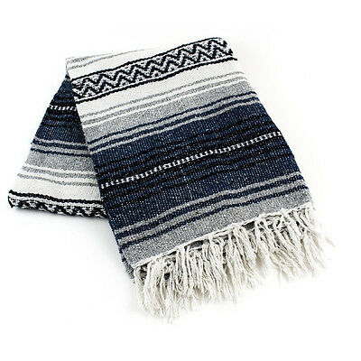"Authentic Navy Mexican Falsa Blanket Hand Woven Yoga Mat Blanket 72""X 54"""
