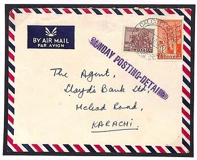 DBU141b 1952 India *SUNDAY POSTING DETAINED* Calcutta Explanatory Cover Pakistan