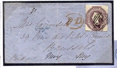 518d 1855 GB WALES DESTINATION MAIL Swansea Glam 6d Embossed Cut-Square Brussels