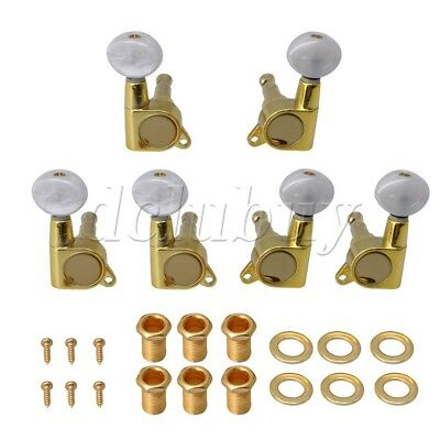 6pcs Golden & White 3L3R Semicircle Guitar Machine Heads for Folk Guitar