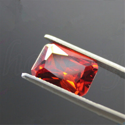 Unheated 5.02CT 8 x 10mm Red Orange Octagon Shape Loose Gemstones Jewelry Gift