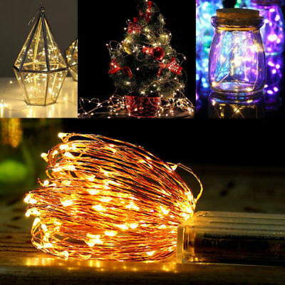 2/4/5M 20-50LED Battery & Plug Micro Rice Wire Copper Fairy String Lights Party