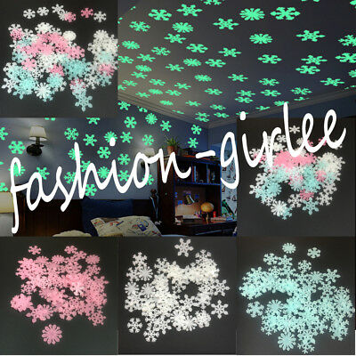 50X 3D Snowflake Glow In The Dark Ceiling Wall Stickers Kids Baby Bedroom Decor