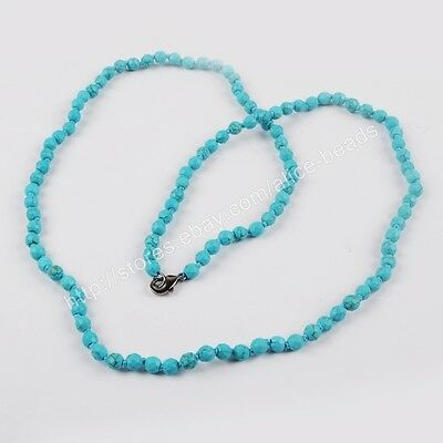 "1Pcs 30"" 6mm Blue Howlite Turquoise Faceted Beads Long Necklace DIY HOT HJT161"