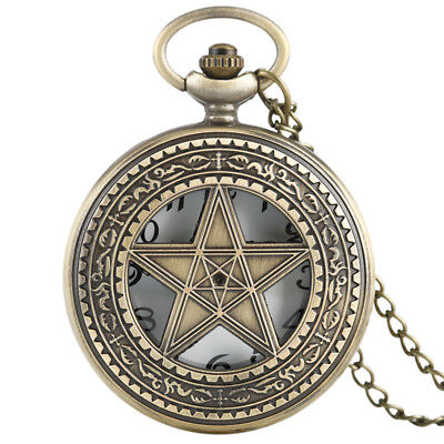 Copper Retro Bronze Pocket Watch Half Hunter Star Chain Necklace Men Women