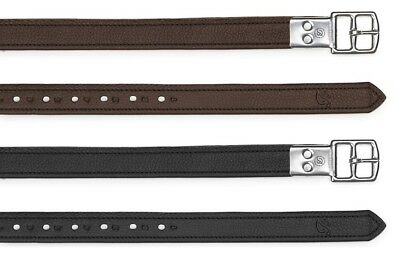 Bates Luxe Non Stretch Slimline Web Stirrup Leathers Brown/Black 110cm-175cm