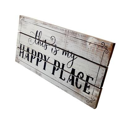 """Shabby Chic """"this is my HAPPY PLACE"""" Wooden Sign Home Art Decor Wall Plaque"""