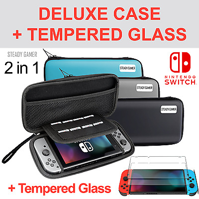 Deluxe Nintendo Switch Carrying Case Travel Bag + TEMPERED GLASS - STEADY GAMER