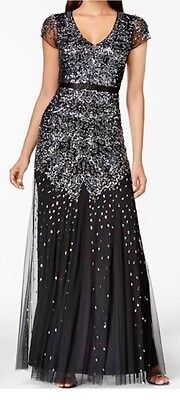 Adrianna Papell Dress Black Cap Sleeve Embellished Gown Size 14 **Worn Only 1x**