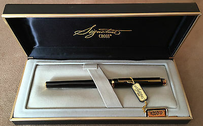 Mint New Old Stock Cross Signature Fountain Pen, Black Lacquer, 1987, Boxed
