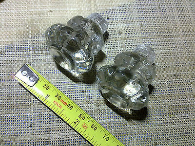 glass knobs x 2, 35 mm,  reclaimed ,antique or vintage (G1)