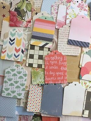 25 x Paper Tags Various Designs Hole Punched Scrapbooking Card Making Crafts
