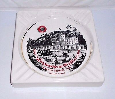 Vtg Warsaw Brewing Corp Burgemeister And Old Tavern Beer Ashtray IL Advertising