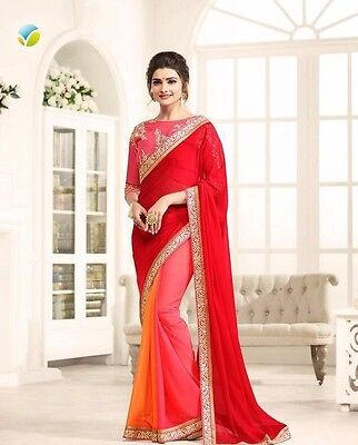Latest Indian Designer Multi-color Embroidered Bollywood Party-Wear Saree Sari