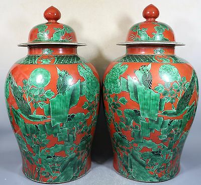 Beautiful chinese red and green color porcelain pots