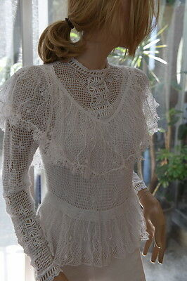 LIM'S Fine Cotton Vintage Hand Crochet Top or Jacket White M