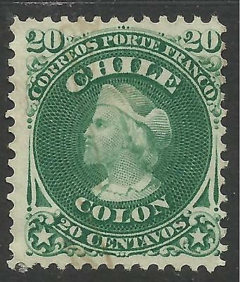 CHILE. 1867. 25c Green. SG: 48. Unused without Gum