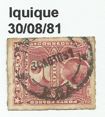 CHILE-PACIFIC WAR. 5c Rose. SG: 58. Cancelled Iquique Dated 30/08/1881