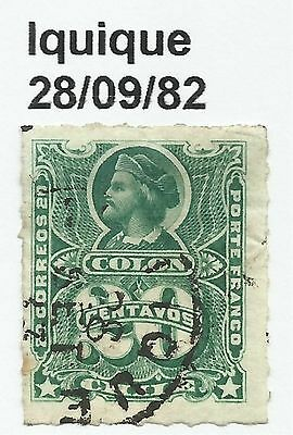 CHILE-PACIFIC WAR. 20c Green. SG: 53. Cancelled Iquique Dated 28/09/1882