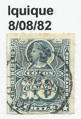 CHILE-PACIFIC WAR. 10c Blue. SG: 52. Cancelled Iquique Dated 8/08/1882