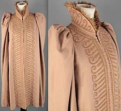 VTG 1920s Tan Cape w/ Embroidery and Feather Trim #1694 20s Coat Cloak