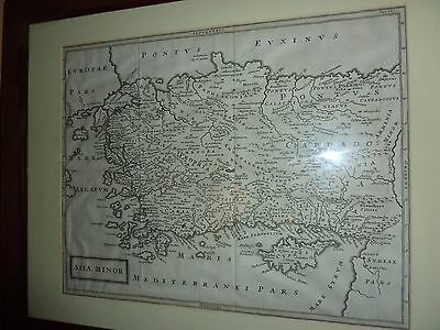 Antique Latin Text 18Th Century Map Of Asia Minor In Oak 44Cm By 55Cm Wood Frame