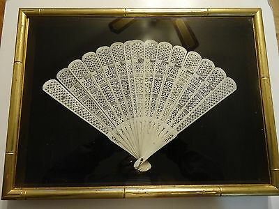 Antique Victorian Ornately Carved Stick Fan Framed