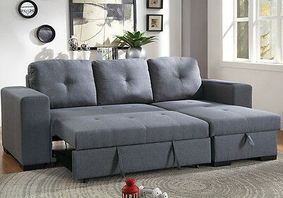 SECTIONAL SOFA REVERSIBLE Storage Chaise Couch Pull Out Bed Blue Gray Fabric