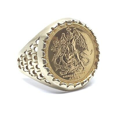 """Vintage 9ct Yellow Gold 1990 """"1/20 Ounce Angel Coin"""" Decorative Mount Ring"""
