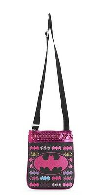 Batgirl Crossbody Messenger Purse Tween Girl Handbag Black Pink Sequin New