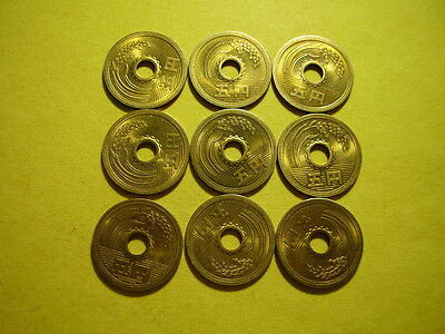 Japan One Golden Color Rice Stalk 5 Yen Coins 1971 yr.46~Good Karma Coins~Lot C