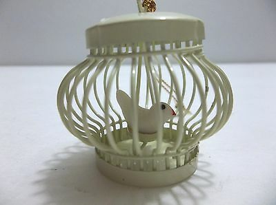 Vintage Metal Bird Cage With Bird On Swing Christmas Tree Ornament