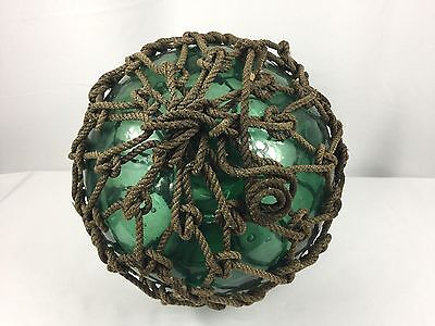 "Vintage Antique Maritime Japanese Fishing Float Buoy Ball Roped 10"" Green Glass"