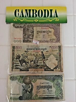 3   SETS  OF  CURRENCY----CAMBODIA,  LAOS  &  VIETNAM-----9 bank notes in all