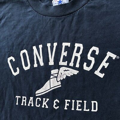 Vintage 90s Converse Track Field Navy Blue Shirt Youth Large Rare