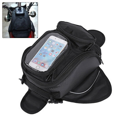 Universal Magnetic Motorcycle  Oil Fuel Tank Bag Waterproof Phone Holder Black