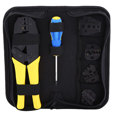 Cable Crimper Tool Kit Wire Terminal Ratchet Plier Crimping Set USA shipping