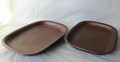 Vintage ARABIA FINLAND RUSKA 2 Rectangular Oven Serving Platters Dish Brown