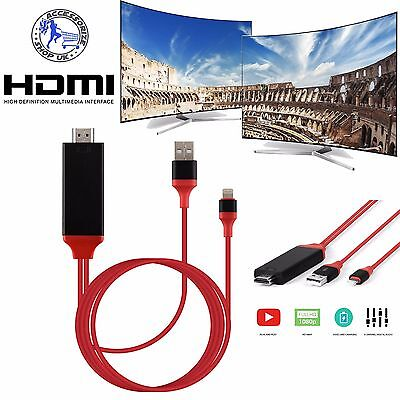 2M 8 Pin Lightning to HDMI TV AV Adapter Cable for Android iPad iPhone 6S 7 Plus