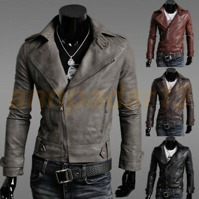 Men's PU  Leather Jacket fashion Slim fit Biker Motorcycle jacket Outwear