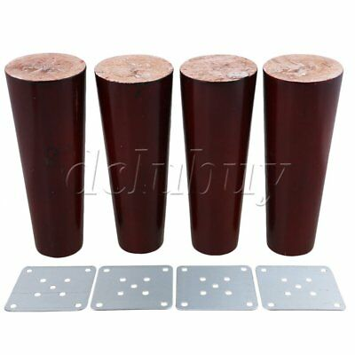 4 pieces Eucalyptus Mahogany Tapered Shape Sofa Couch Legs 15x5.8x3.8cm