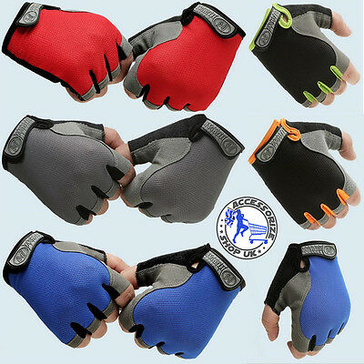 Unisex Glove Cycling Gloves Cycle Bike Bicycle Half Finger Less Anti Slip Mitts